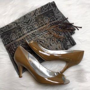 J. Crew camel patent leather peep toe pumps sz 9
